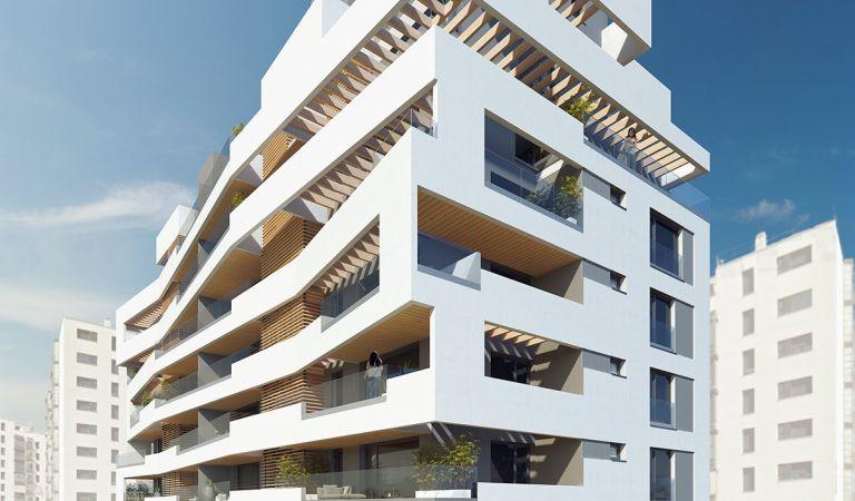 Fachada pisos nuevos grandes en Valdebebas