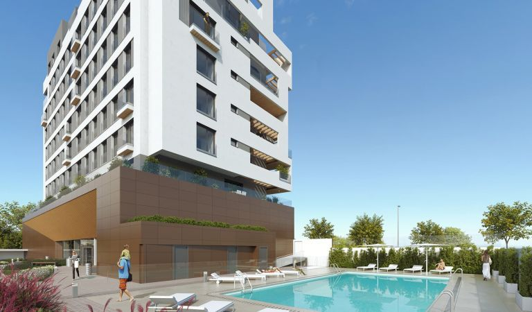 piscina pisos obra nueva Valdebebas
