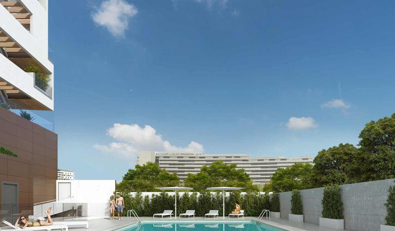 Pisos nuevos en venta con piscina en Valdebebas