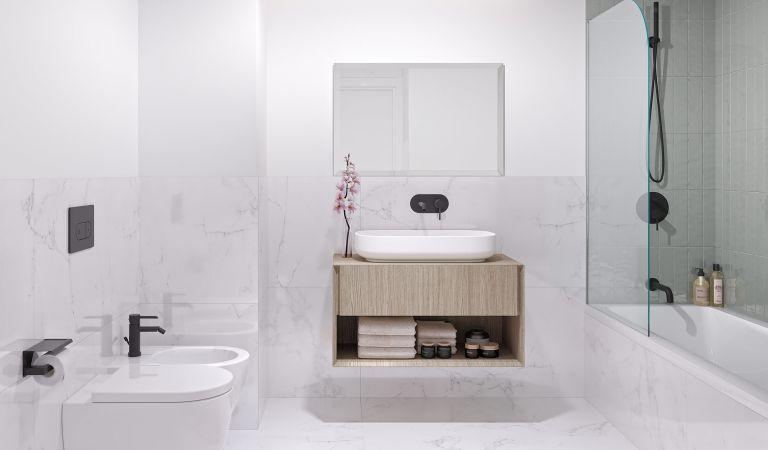Baños de mármol de Carrara en nuestros pisos de obra nueva en Lisboa
