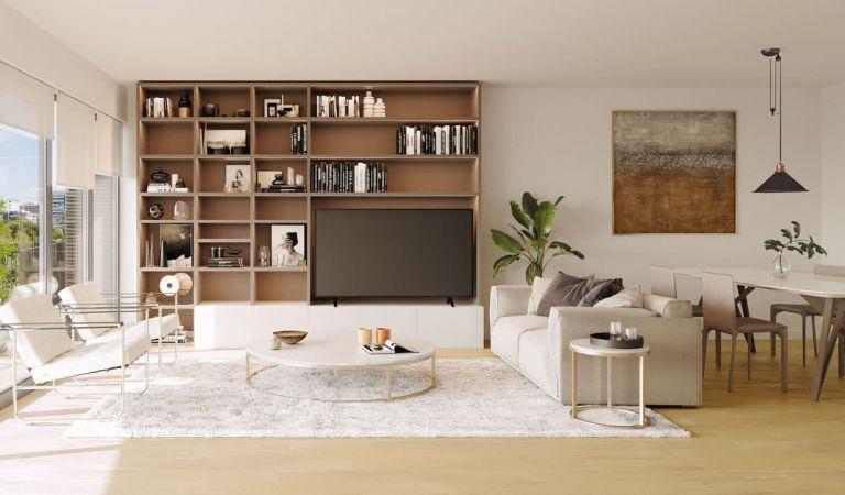 Salón viviendas obra nueva en Lisboa