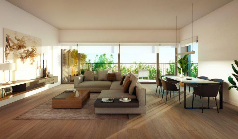 Sala de estar com grandes janelas em Miraflores