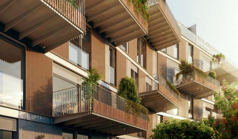 Fachada terrazas de pisos obra nueva en Vigo
