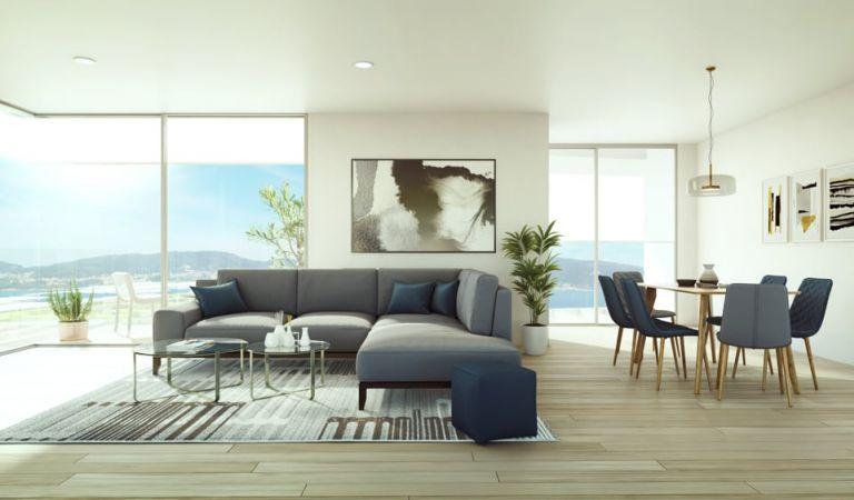 Salón comedor pisos obra nueva, Luar