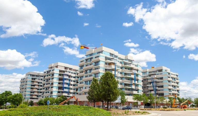 Estado obras pisos en Valdebebas junio 2021