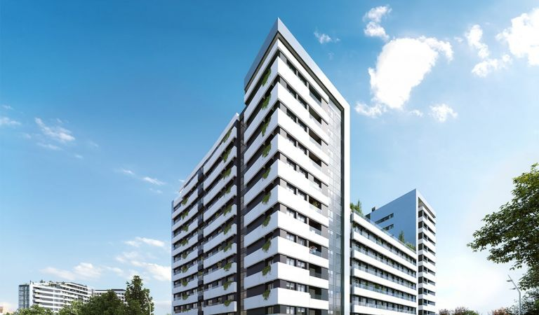 Fachada de los nuevos pisos en Vicente Calderón